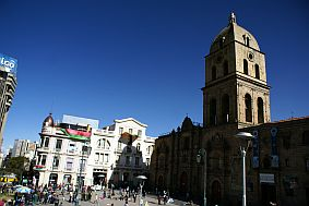 la paz travel and talk photograph,travel la paz,travel bolivia,la paz main square photograph,travel south america,travel writing gwynne hogan